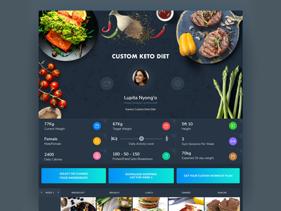 Keto Diet App Web Dark UI webdesign ui ux uiux mobile web minimal food app fittness diet design dasboard app