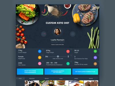 Keto Diet App Web Dark UI webdesign ui ux uiux mobile web minimal food app fittness diet design dasboard app