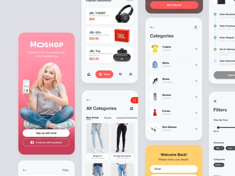 More Shop - UI Kit shopping cart ecommerce app minimal uiux mobile app ceffectz design ui ux