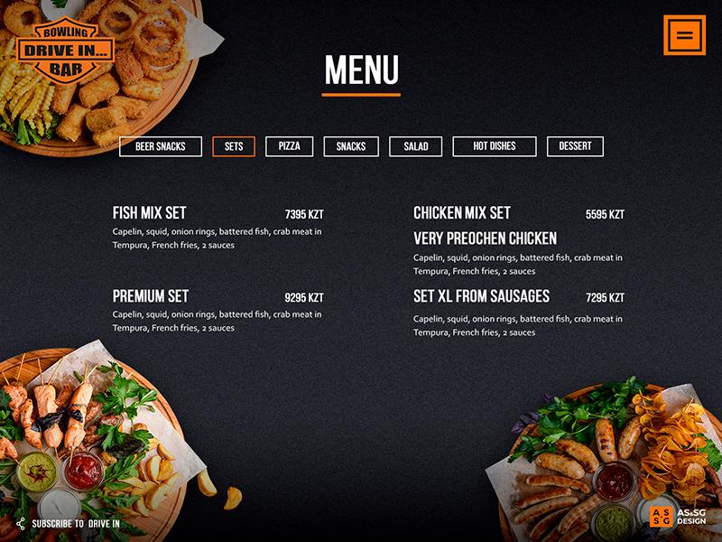 Bowling menu page bike price website ux ui menu bowling