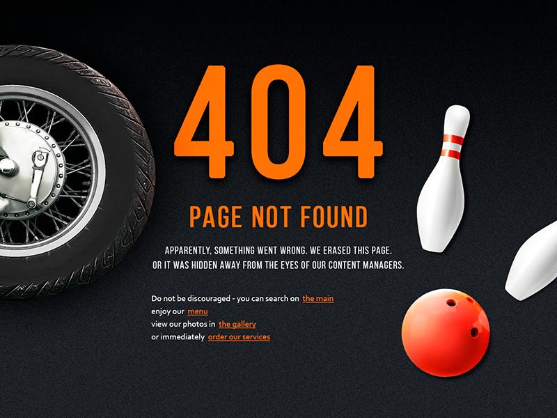 Page not found 404 found not website ux ui 404 menu bowling bike