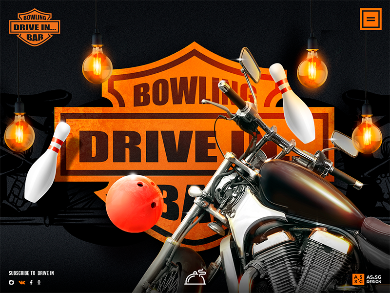 First page of the bowling page lamp website ux ui bowling bike