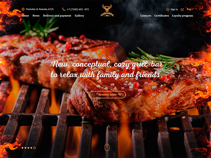 Slider home page grill fire meat bar food beer texture tree