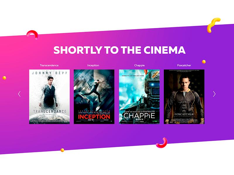 Slider in the block slider uiux gradient movies cinema