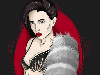 Red light sexual draw ipad pro portrait illustraion brush female character lips procreate girl