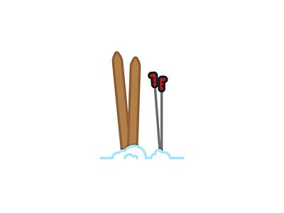 Tools for fun sports flat illustration vector snow ski