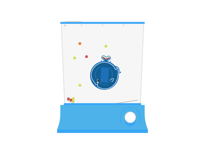 Waterful Whale toy retro illustration flat vector
