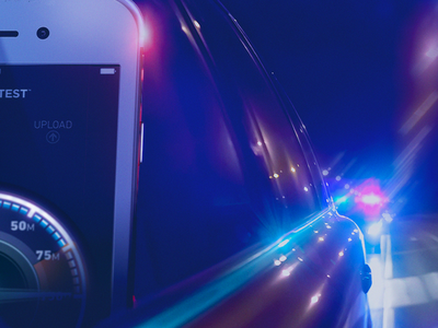 Mobile Speed blur chase glow neon lights police photo manipulation