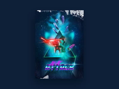 AT-AT Attack (Full) movie poster movie poster fantsy lasers space retro 80s vaporwave blade runner star wars