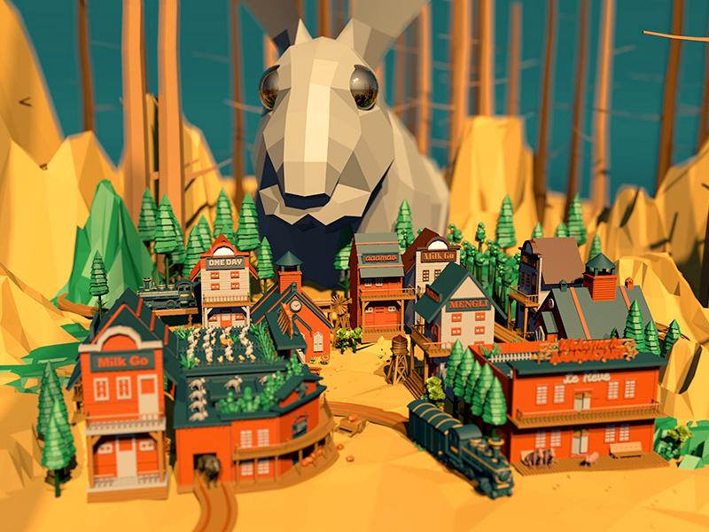 Western Animal Farm 3 forest western farm animals illustration fairy tale rabbit