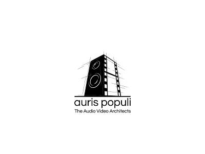 Logo design for Auris Populi architects sound black black and white logotype logo design architecture logo sketching sketch building video audio