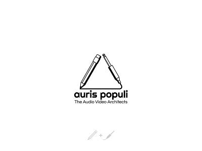 Logo design for Auris Populi triangle logo triangle architect video aux pencil design black and white audio architecture architects black logotype logo design logo