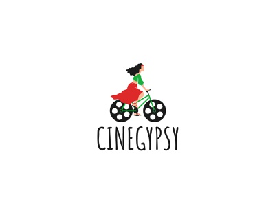 Logo design for Cinegypsy black green red woman girl wheels character character design bicycles bicycle illustration logotype logo design logo gypsy