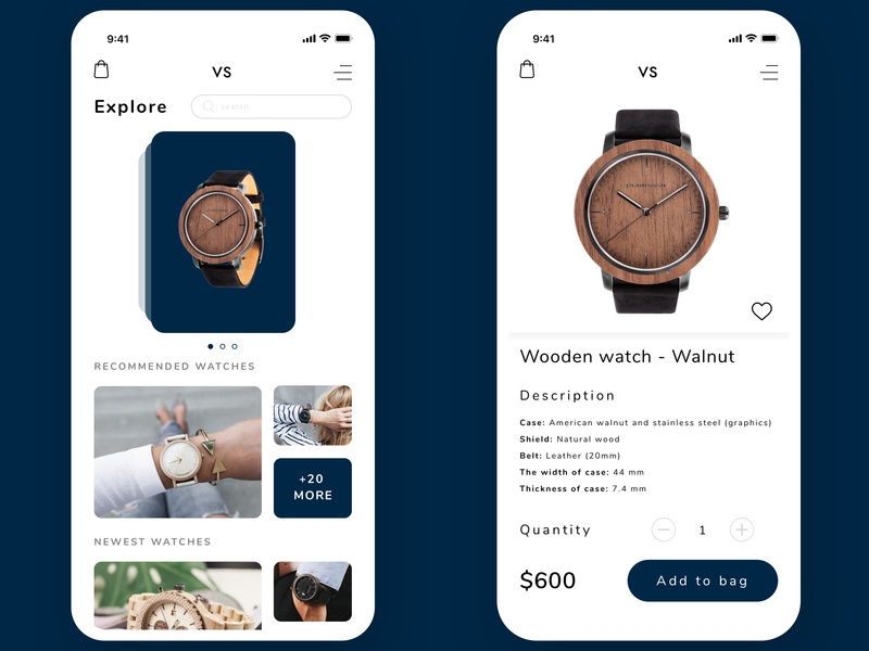 Online shop with watches in PWA technology