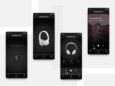 Headphones application design flat design flat beats by dre iphone ios apple ui dark ui dark app minimal connect bluetooth headphones
