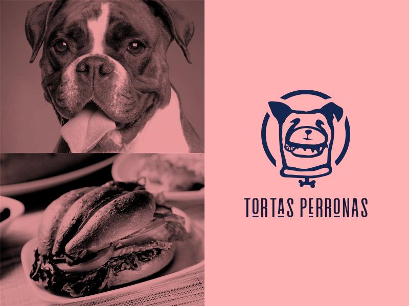 Tortas Perronas Logo badge logo badge punk retro sandwiches tortas mexican restaurant food truck