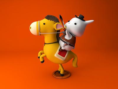Charge!My pony rabbit c4d