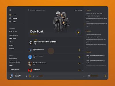 Desktop music player Duft Punk web spotify music app desktop dark mode dark user interface illustration player music music player design interaction design ui design motion ux ui
