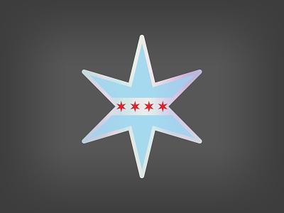 Chicago Star Holographic Sticker holographic stickermule chicago sticker