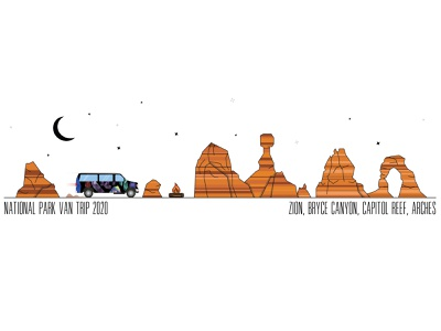 Van Trip Illustration vector national park van camping van life van trip illustration