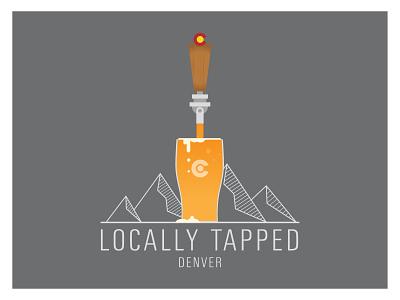 Locally Tapped Logo vector art illustration mountains denver logo beer vector