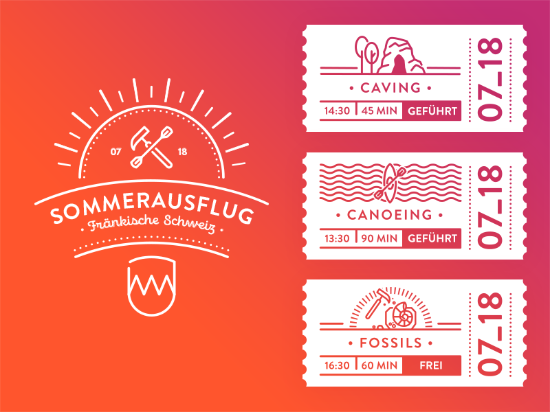 Sommerfest Dribbble logo icons trip summer tickets