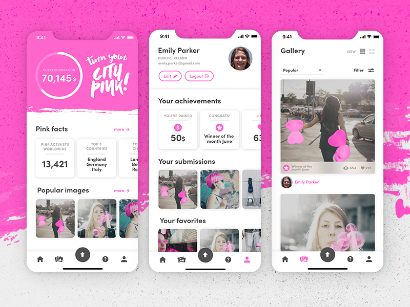 App for a breast cancer awareness campaign pink breast cancer awareness breast cancer ui app mobile