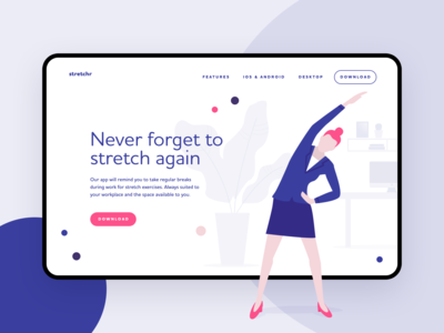 Stretch break reminder tool - landing page