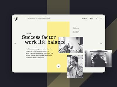 Online magazine for young professionals website design website editorial branding ui clean desktop yellow dark magazine online magazine