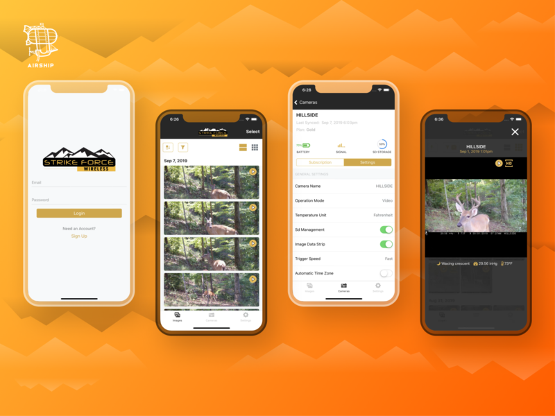 Prometheus + Browning Trail Cameras API and App Design outdoors app mobile api ruby on rails react hunting trail camera mobile application ui ux react native app airship mobile app design mobile app