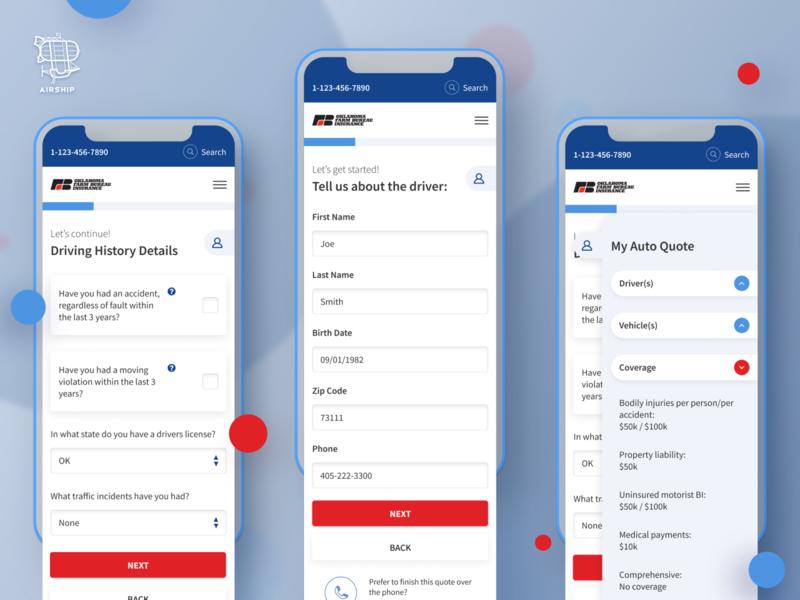 OKFB Insurance Quote Portal app design mobile application react native design ui user experience ux react native mobile app design mobile app airship