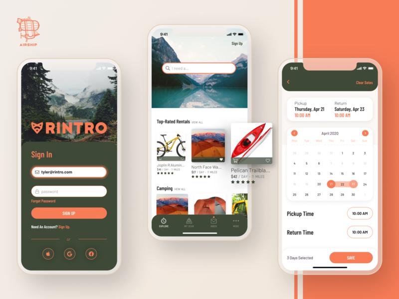 Rintro mobile application ui user experience design app design mobile design react native ux mobile app design mobile app app airship