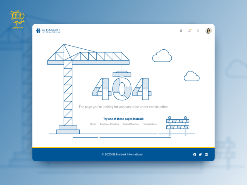 BL Harbert International - 404 Page vector illustration design ux 404 error web app design web app application design airship 404 404page