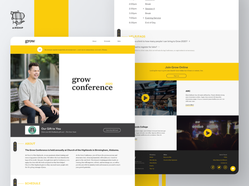 Grow Conference 2020 Landing Page agency bold color landing page church user experience branding ui design ux airship