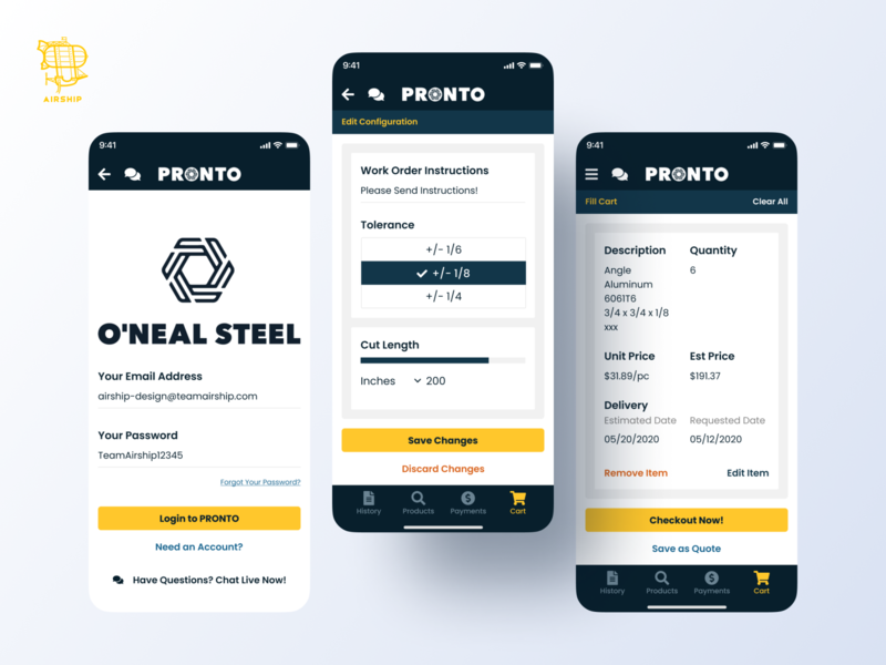 O'Neal Steel Mobile App mobile application user experience ui app react native mobile app design mobile app design ux airship