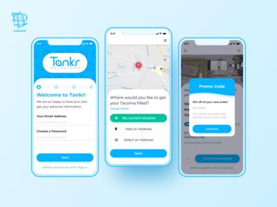 Tankr - Gas... Delivered application design user experience app ui react native mobile app design mobile app design ux airship