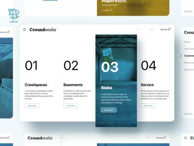 Groundworks Web App bold build construction branding app design user experience app ui design ux airship