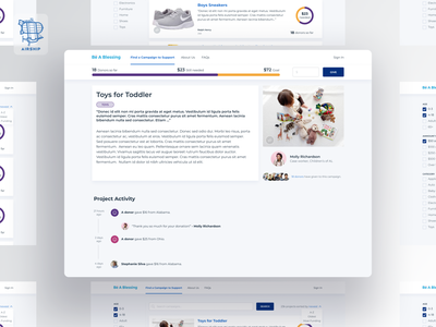 Be A Blessing Campaign Detail View funding non-profit nonprofit donation web app website logo user experience ui design ux airship