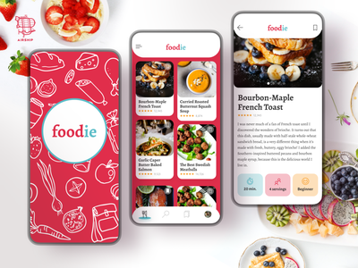 Foodie, an Original Recipe App foodie food app recipe app recipe food illustration mobile design app design mobile application mobile app design design ux airship