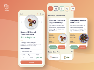 Food Delivery App food and drink delivery app food app mobile app app user experience ui design ux airship