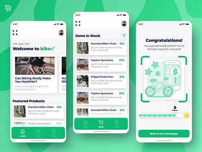 BikeX - Local Bike Part Store react native mobile app app user experience ui design ux airship graphic green bycicle biking bikes bike