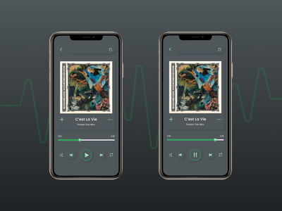 Spotify in Neumorphic mode dark mode skeumorphism skeumorphic neumorphism neumorphic mockup spotify mobile ui device design trend design 2020 trend ux branding ui