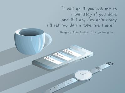 Lyric illustration coffee phone watch figma vector 2d flat design sketchapp design portfolio illustration