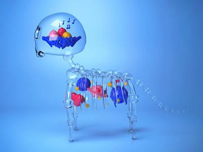 3D Skeleton Animal skeleton cat 3d modelling 3d model 3d artist domestika pet illustration character 3d illustration 3dcharacter 3d art 3d