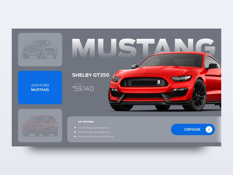 Ford Mustang Shelby mustang automotive card clean illustration graphics web ux ui cars