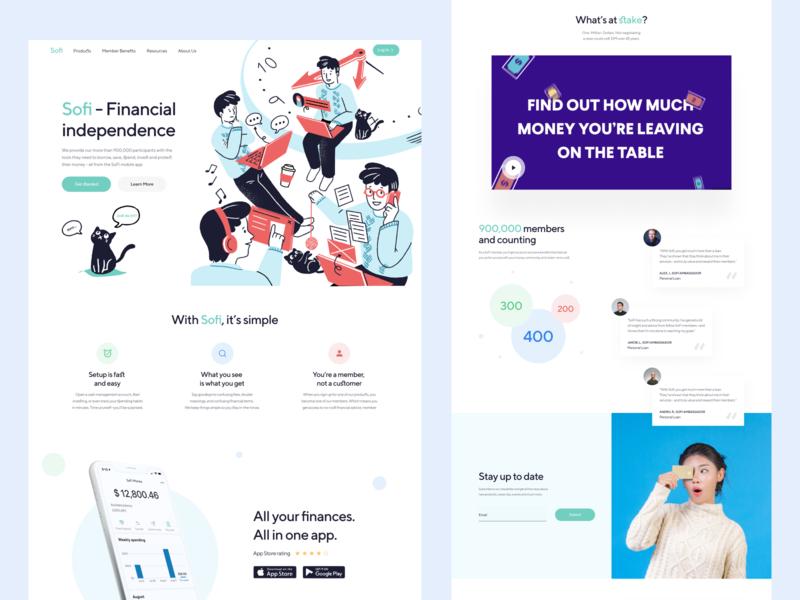 Sofi - Fintech Exploration social student loan illustration ui web etheric finance app financial fintech finance