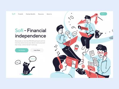 Sofi - Animation finance app etheric ui morgage loan banking bank students motion illustration web financial fintech animation