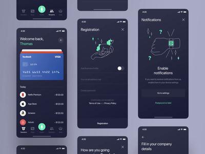 TransferApp - Mobile UI ui onboarding illustration banking bank transfer fintech finance etheric