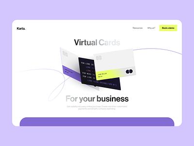 Karta - Virtual Card Exploration bank finances branding 3d product design ux ui karta credit card management card virtual etheric landing finance fintech