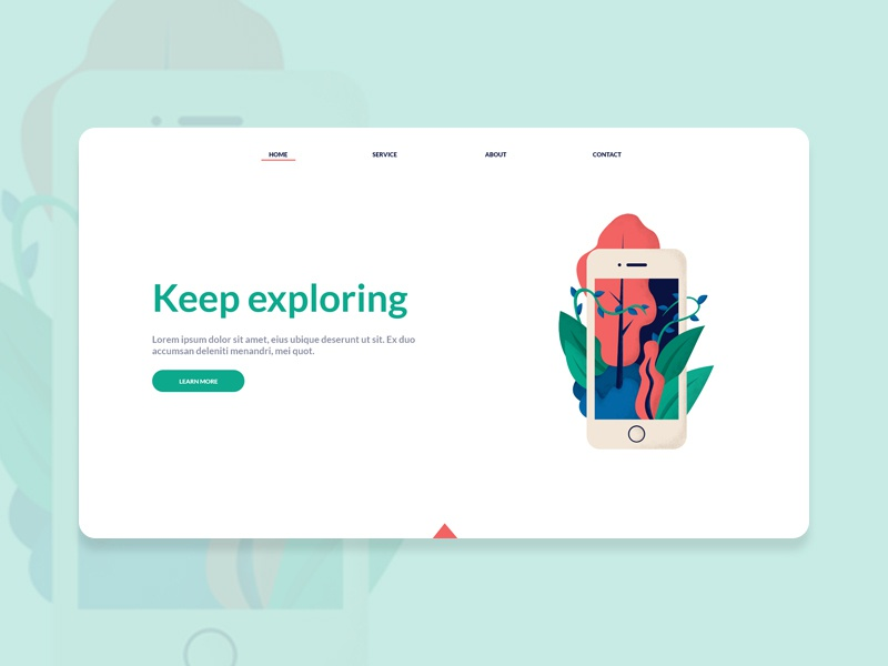 Landing page - illustration header web nature mobile iphone ui art design illustration uidesign webdesign ux ui design landing page
